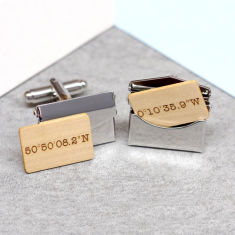 Personalised coordinate envelope cufflinks