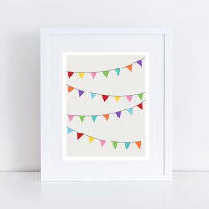 Colourful flag bunting art print