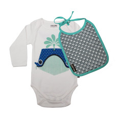 Whale organic onesie and bib set