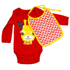 Giraffe organic onesie and bib set