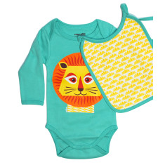 Lion organic onesie and bib set