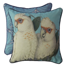 Coral blue corellas cushion cover