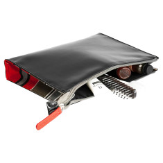 Black toiletry bag with red striped fabric