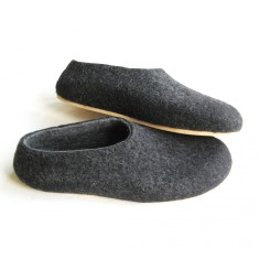 Men's felt slippers grey marle with cork sole