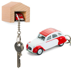 Citroen 2CV Dolly red, white & beech wood garage key ring