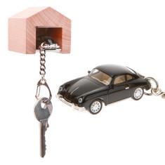 Porsche 356 keyring & beech wood garage