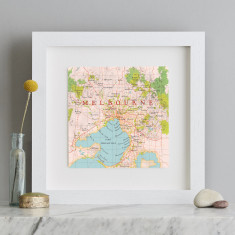 Melbourne map square print