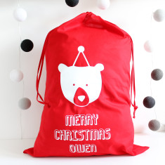 Personalised Bear Christmas Sack
