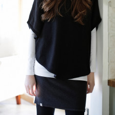 Reversible cotton cashmere mini skirt in black & charcoal grey