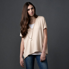 Merino wool layering top in sand