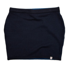 Reversible cotton cashmere mini skirt in navy & hoxton blue