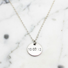 Personalised Date Disc Sterling Silver Necklace