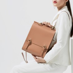 Stylish Leather Backpack In Tan
