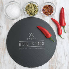 Dad The Bbq King Slate Serving Board