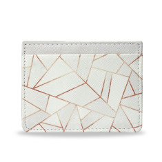 White Stone & Copper Vegan Leather Credit Card Holder