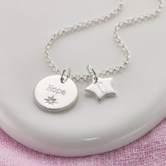Personalised Little wish topaz necklace