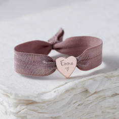 Personalised rose gold heart bracelet