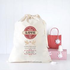 Peace joy love personalised Santa sack