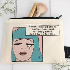 Personalised hungover makeup bag