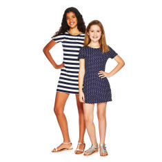 T-shirt dress in navy with white spots