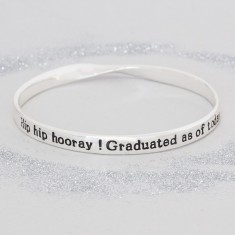 Silver graduation message bracelet