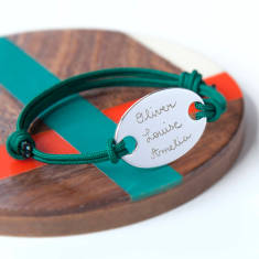 Father's personalised oval plate bracelet