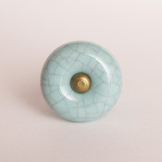 Cracked blue knob/drawer pull