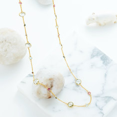 Sofia Gemstone Station Necklace In Gold Plate