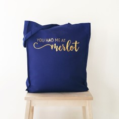 Merlot gold foil tote bag