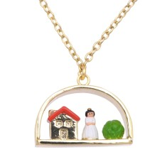 Snow White and the 7 dwarves' house necklace
