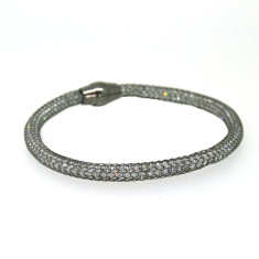 Sterling silver mesh bracelet in black rhodium