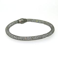 Sterling silver mesh bracelet in black rhodium