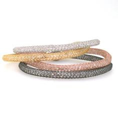 Sterling silver snake bracelet with crystals