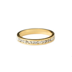 Crystal stacking ring in gold