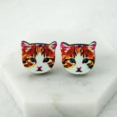 Pretty kitty cat stud earrings in wood
