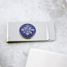 Sixpence 50th Enamel Coin Money Clip
