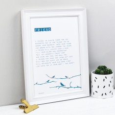 Friend bird personalised poem print