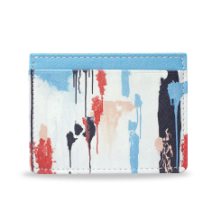 Blue Paint Vegan Leather Credit Card Holder