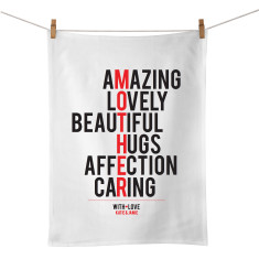 Mother personalised typographic tea towel