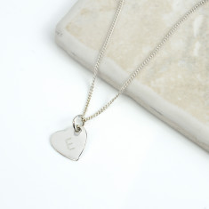 Personalised Initial Silver Heart Necklace