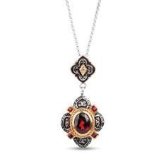Charlotte 2ct garnet gold vermeil & sterling silver pendant