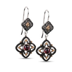 Josephine sterling silver & gold vermeil garnet drop earrings