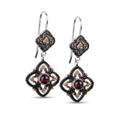 Josephine sterling silver & gold vermeil garnet drop earrings