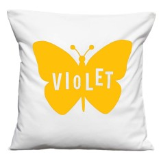 Personalised butterfly cushion cover in white