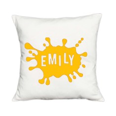 Splash of colour personalised name cushion cover