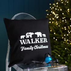 Personalised Polar Bear Family Christmas Cushion