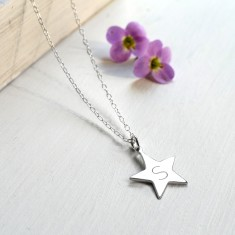Personalised Sterling Silver Star Initial Pendant Necklace
