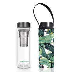Glass is greener double walled tea flask 500ml with banana print carry cover