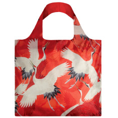 LOQI reusable bag in museum collection in white and red cranes