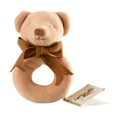 Teddy organic cotton ring rattle
